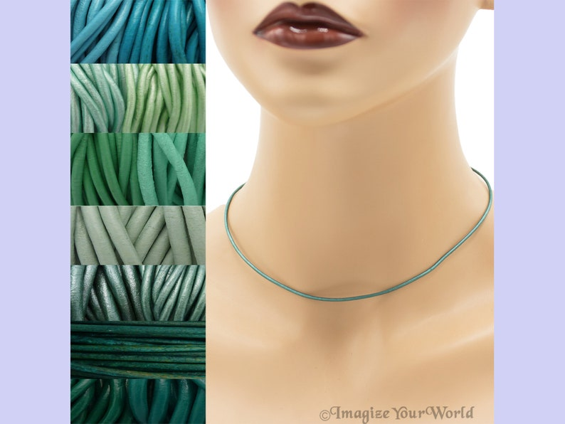 Custom Teal LEATHER Cord Necklace up to 36 inches long 1.5 mm Turquoise