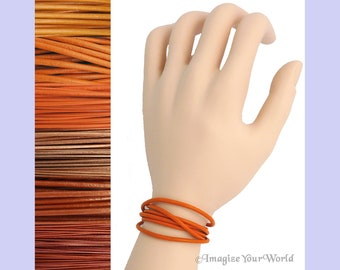 Custom Orange LEATHER Cord Wrap Bracelet up to 72 inches long 1.5 mm, 2 mm or 3 mm choose shade, diameter, length, clasp color multi-wrap