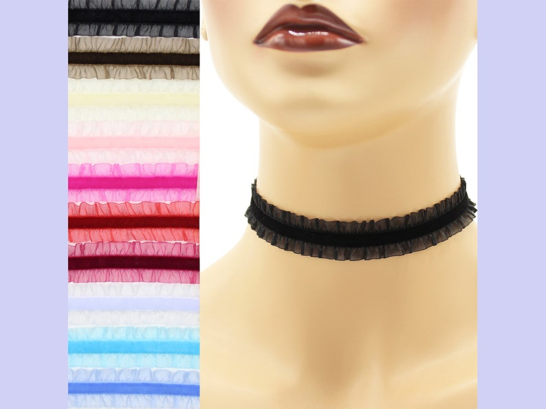 Stretch Velvet Choker with Sheer Frill Double Ruffle 3/4 inch image 0