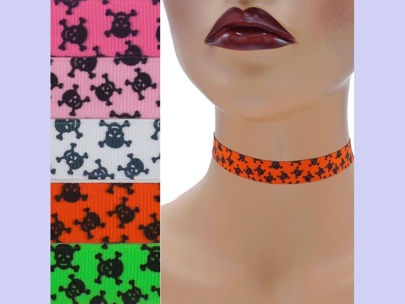 Skull and Crossbones Choker 5/8 inch wide Custom made Your image 0