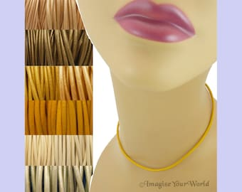 """Custom Yellow LEATHER Cord Necklace up to 36 inches long 1.5 mm, 2 mm or 3 mm choose shade, diameter, length, clasp color (18"""" if no note)"""