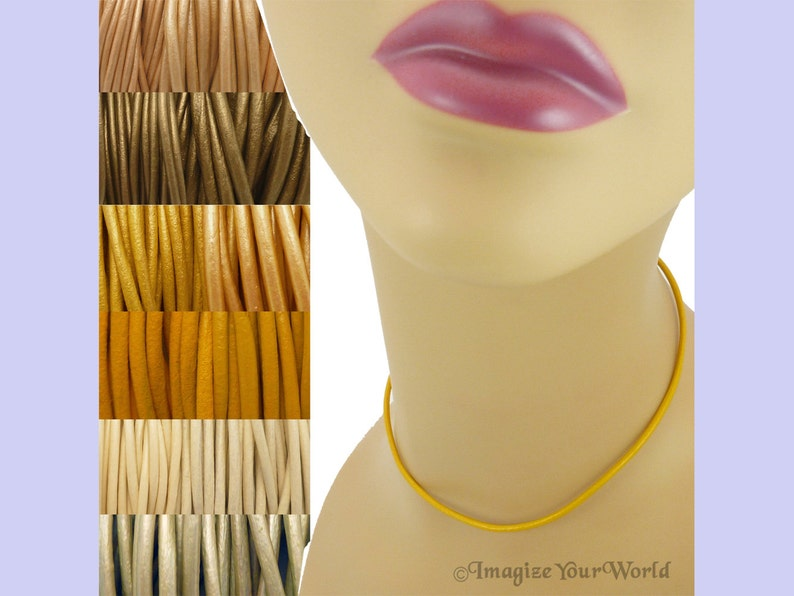 Custom Yellow LEATHER Cord Necklace up to 36 inches long 1.5 image 0