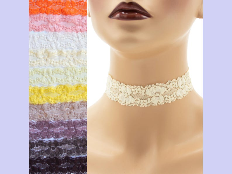 Stretch Lace Choker 1  1.25 inches wide Brown Orange or image 0