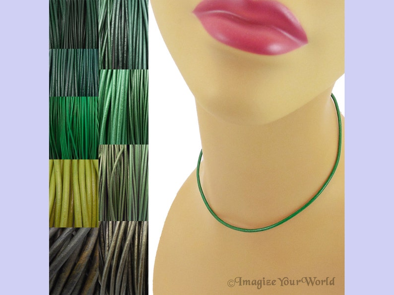 Custom Green LEATHER Cord Necklace up to 36 inches long 1.5 Mehandi