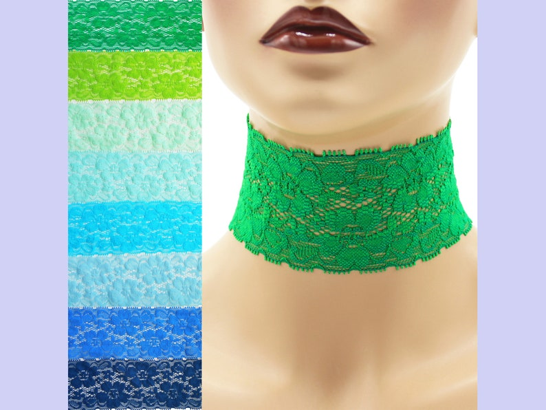 Extra Wide Stretch Lace Choker 2  2.25 inches Blue Green or image 0