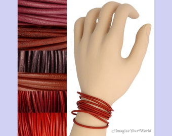 Custom Red LEATHER Cord Wrap Bracelet up to 72 inches long - choose shade, diameter, length, clasp color - 1.5 mm,  2 mm or 3 mm