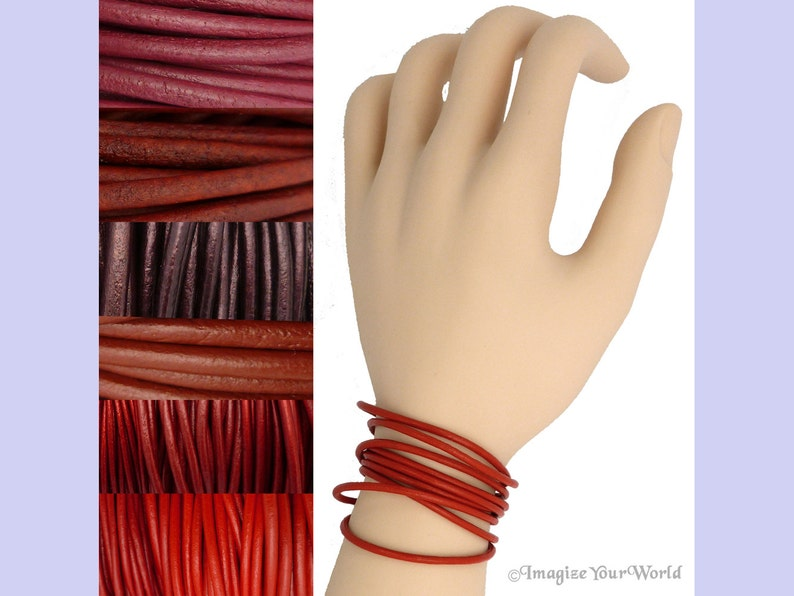 Custom Red LEATHER Cord Wrap Bracelet up to 72 inches long 1.5 Metallic Russet