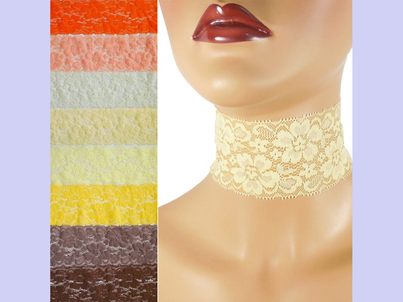 Extra Wide Stretch Lace Choker 2  2.25 inches Brown Orange or image 0
