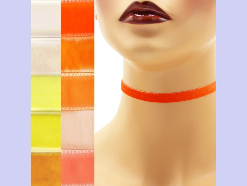 Orange or Yellow Velvet Choker 3/8 inch wide Custom made Your image 0