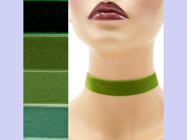 Green Velvet Choker 7/8 inch wide Custom made Your Length and image 0