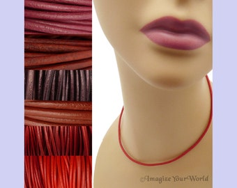 """Custom Red LEATHER Cord Necklace up to 36 inches long 1.5 mm, 2 mm or 3 mm choose shade, diameter, length, clasp color (18"""" if no note)"""