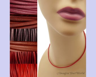 Custom Red LEATHER Cord Necklace up to 24 inches long - choose shade, diameter, length, clasp color - 1.5 mm,  2 mm or 3 mm