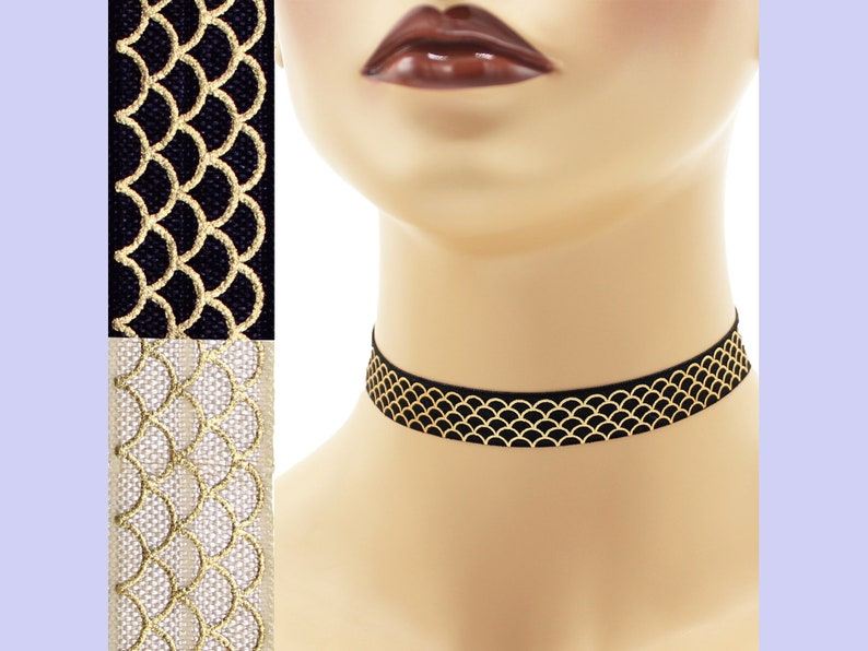 Metallic Gold Scales Elastic Choker 5/8 inch wide Custom image 0