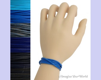 Custom Blue LEATHER Cord Wrap Bracelet up to 72 inches long 1.5 mm, 2 mm or 3 mm choose shade, diameter, length, clasp color multi-wrap
