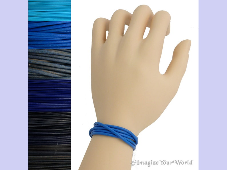 Custom Blue LEATHER Cord Wrap Bracelet up to 72 inches long image 0
