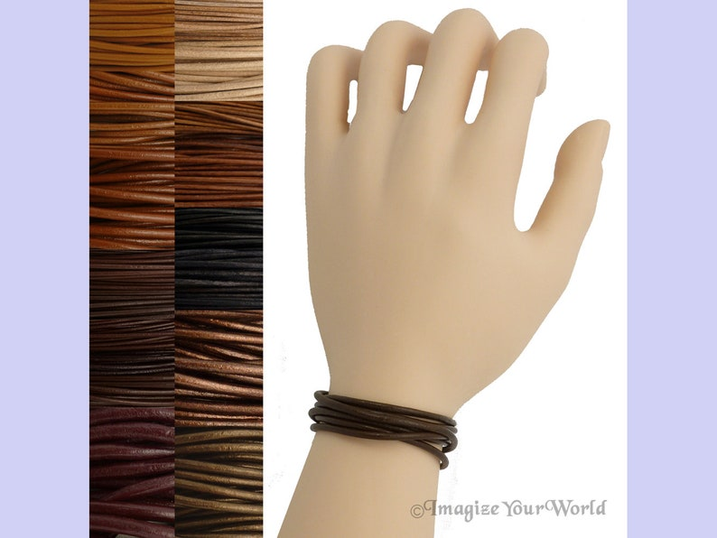 Custom Brown LEATHER Cord Wrap Bracelet up to 72 inches long Nat. Dyed Red-Brown