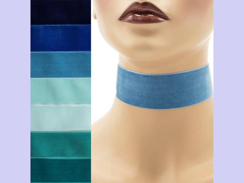 Blue or Teal Velvet Choker 1.5 inch wide Custom made Your image 0