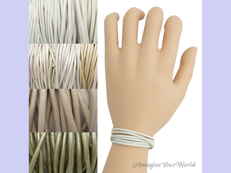 Custom White LEATHER Cord Wrap Bracelet up to 72 inches long image 0