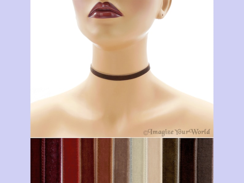 Brown Velvet Choker 3/8 inch wide Custom made Your Length and image 0