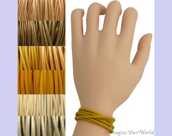 Custom Yellow LEATHER Cord Wrap Bracelet up to 72 inches long 1.5 mm, 2 mm or 3 mm choose shade, diameter, length, clasp color multi-wrap