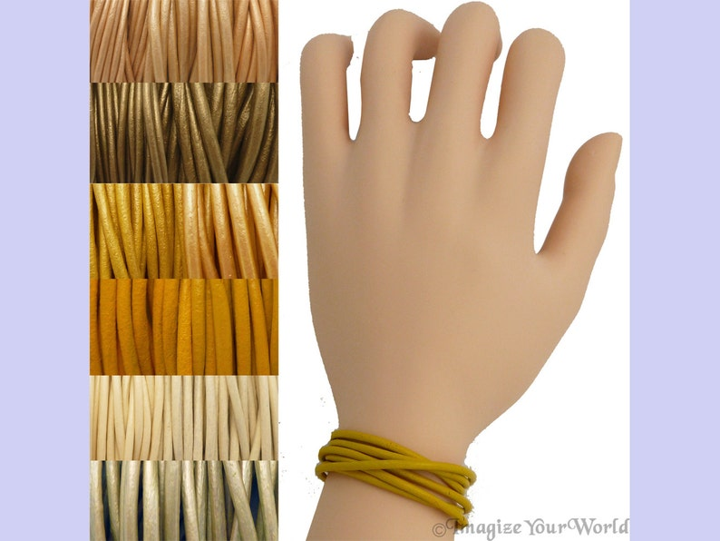 Custom Yellow LEATHER Cord Wrap Bracelet up to 72 inches long image 0
