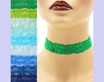 Stretch Lace Choker 1 - 1.25 inches wide Blue Green or Teal Custom made Your Length and Color shade (approximate width 25 - 30 mm) elastic