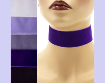 Purple Velvet Choker 1.5 inch wide Custom made Your Length and Color shade (approximate width 1-3/8 - 1-1/2 inches;  36 - 38 mm) light dark