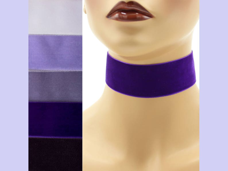 Purple Velvet Choker 1.5 inch wide Custom made Your Length and image 0