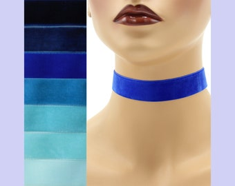 Blue Velvet Choker 7/8 inch wide Custom made Your Length and Color shade (approximate width 0.875 inches;  22 - 23 mm) navy royal dark light