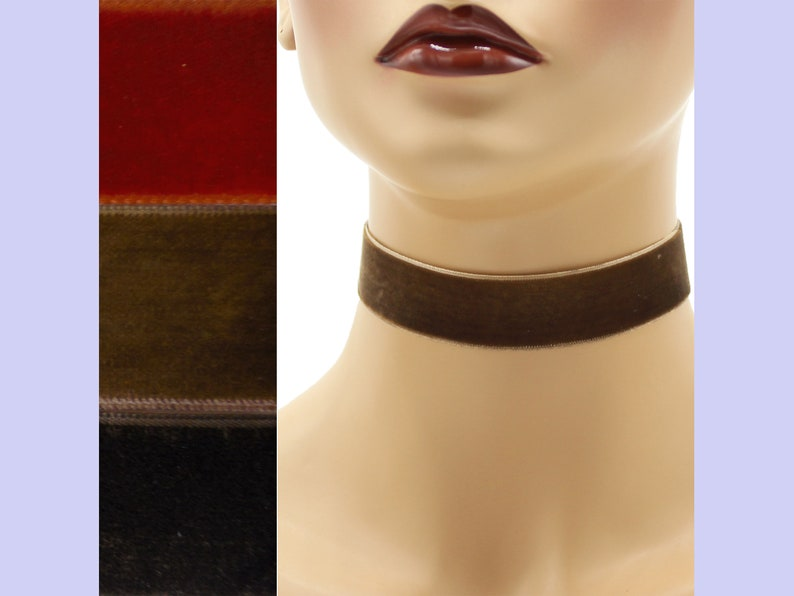 Brown Velvet Choker 7/8 inch wide Custom made Your Length and image 0