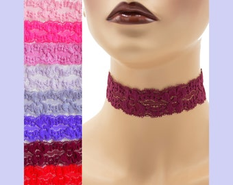 Stretch Lace Choker 1 - 1.25 inches wide Red Pink or Purple Custom made Your Length and Color shade (approximate width 25 - 30 mm) elastic
