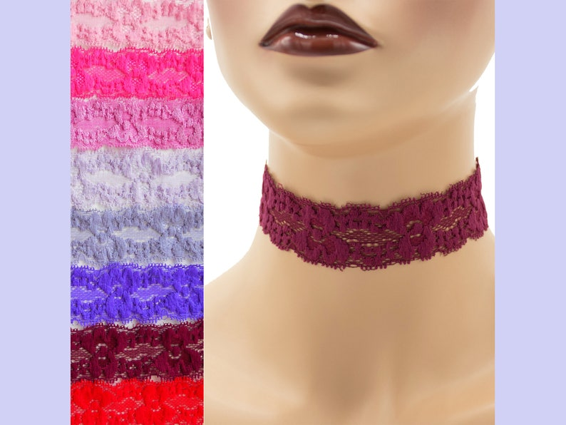 Stretch Lace Choker 1  1.25 inches wide Red Pink or Purple image 0
