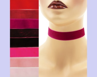 Red or Pink Velvet Choker 7/8 inch wide Custom made Your Length and Color shade (approximate width 0.875 inches;  22 - 23 mm) burgundy wine