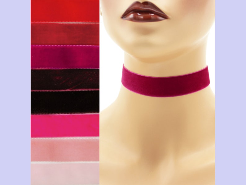 Red or Pink Velvet Choker 7/8 inch wide Custom made Your image 0