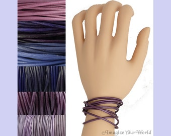 Custom Purple LEATHER Cord Wrap Bracelet up to 72 inches long 1.5 mm, 2 mm or 3 mm choose shade, diameter, length, clasp color multi-wrap