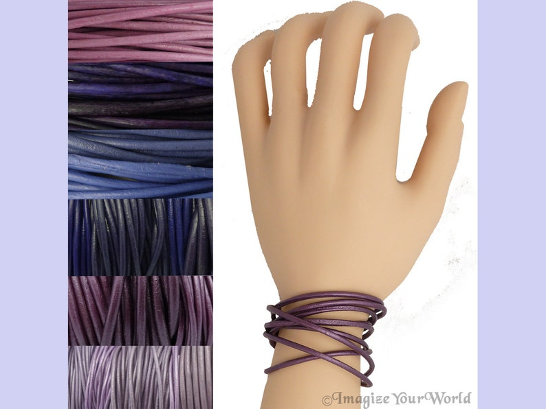 Custom Purple LEATHER Cord Wrap Bracelet up to 72 inches long image 0