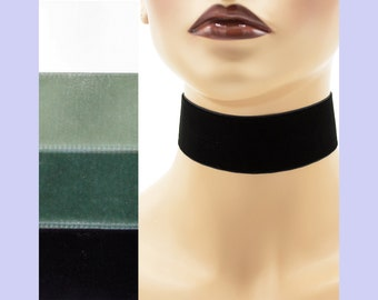 Velvet Choker 1.5 inches wide Custom made Your Length and Color Black White Gray shades + (approximate width 1 3/8 - 1 1/2 inch; 36 - 38 mm)