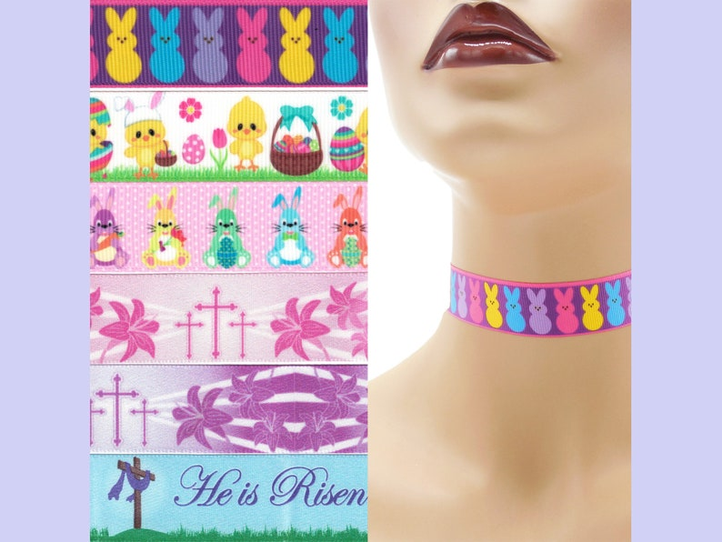 Custom Easter Choker 7/8 inch wide necklace Bunnies Peeps image 0