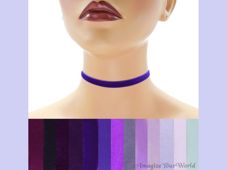 Purple Velvet Choker 3/8 inch wide Custom made Your Length and image 0