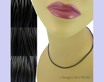 """Custom Black LEATHER Cord Necklace up to 36 inches long 1.5 mm, 2 mm or 3 mm choose shade, diameter, length, clasp color (18"""" if no note)"""