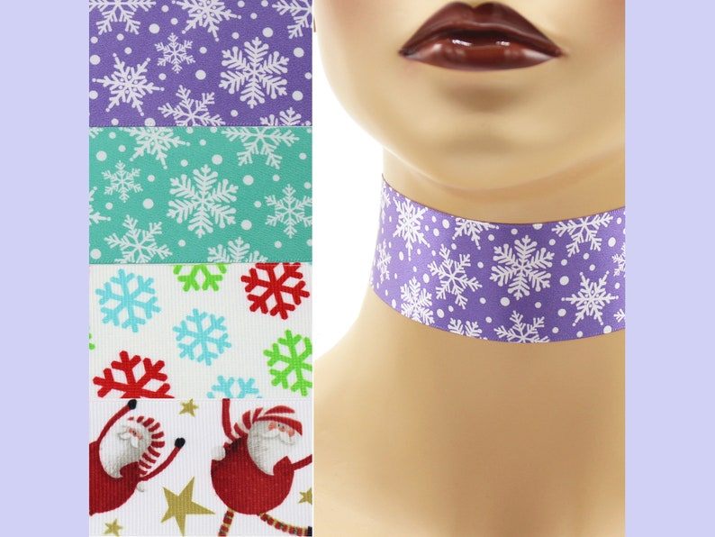 Custom Winter Choker 1.5 inch wide necklace 38  40 mm width image 0