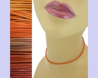 """Custom Orange LEATHER Cord Necklace up to 36 inches long 1.5 mm, 2 mm or 3 mm choose shade, diameter, length, clasp color (18"""" if no note)"""