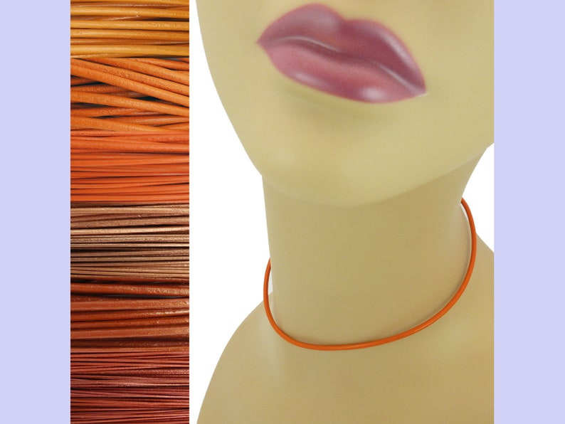 Custom Orange LEATHER Cord Necklace up to 36 inches long 1.5 Metallic Indian Sun