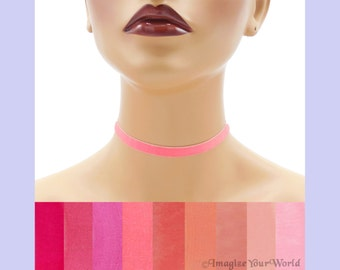 Pink Velvet Choker 3/8 inch wide Custom made Your Length and Color shade (approximate width 0.375 inches; 9 - 10 mm) elastic colors noted