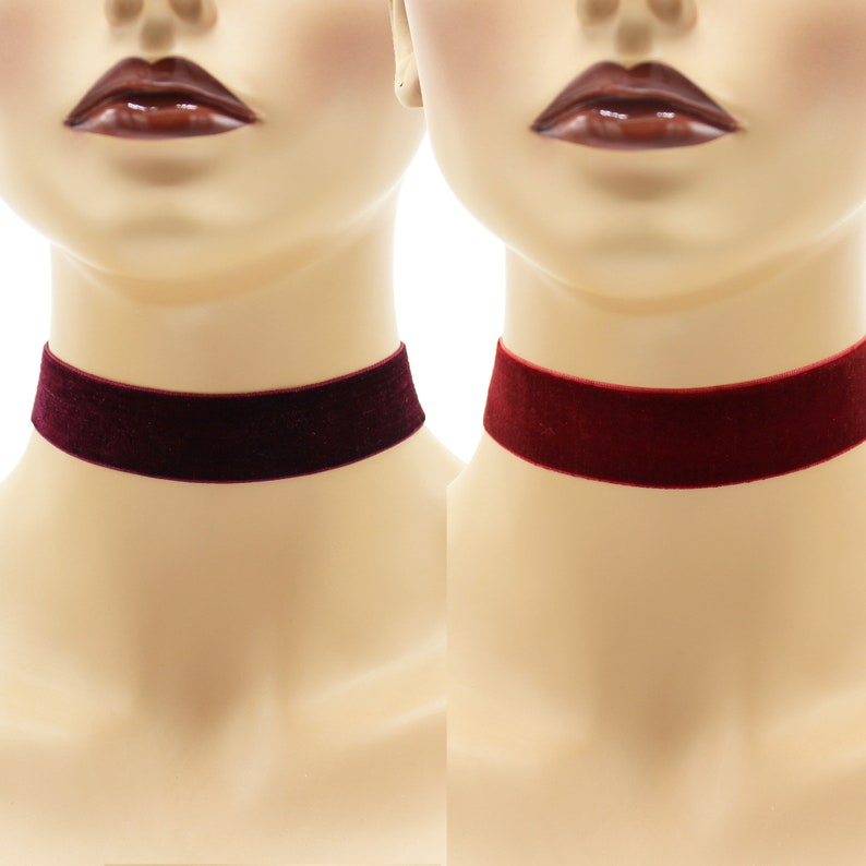 Red or Pink or Purple 1-inch wide Velvet Choker Custom made image 0