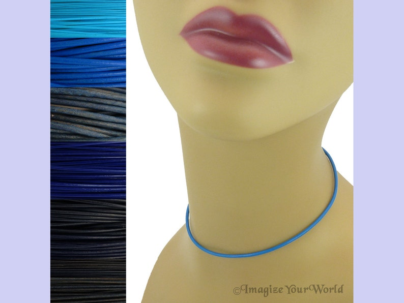 Custom Blue LEATHER Cord Necklace up to 36 inches long 1.5 mm image 0