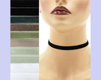 Velvet Choker 3/8 inch wide Custom made Your Length and Color Black White Gray shades (approximate width 0.375 inches; 9 - 10 mm) halloween