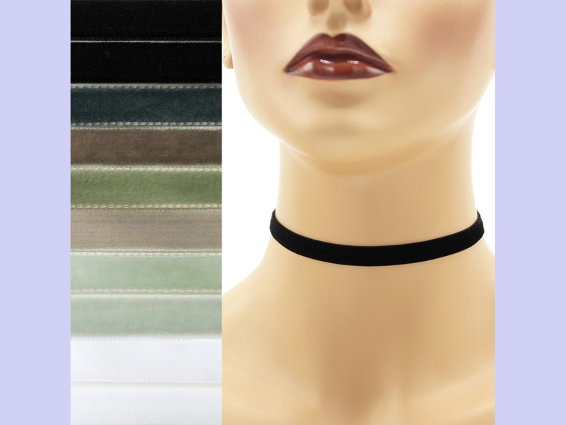 Velvet Choker 3/8 inch wide Custom made Your Length and Color image 0