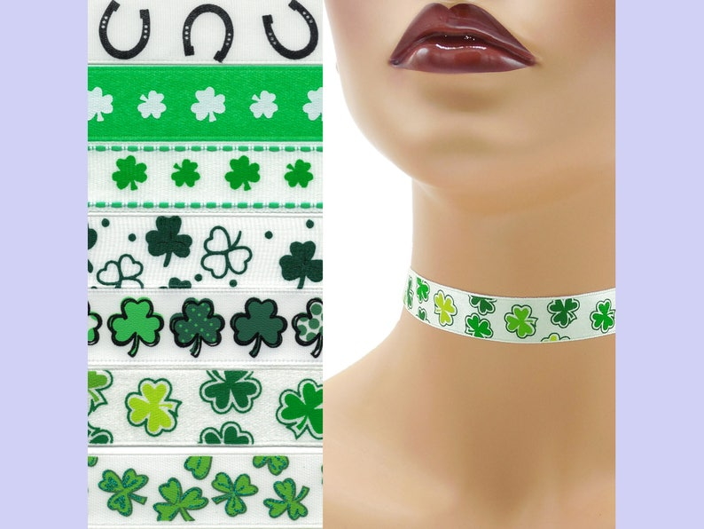 Custom St. Patrick's Day Choker 5/8 inch wide Shamrocks image 0