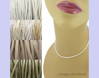 Custom White LEATHER Cord Necklace up to 24 inches long - choose shade, diameter, length, clasp color - 1.5 mm, 2 mm or 3 mm - off-white +